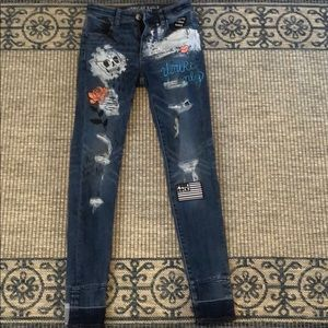 American Eagle Graffiti Patchwork Jeans 0R